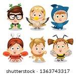 big set of boys and girls... | Shutterstock .eps vector #1363743317