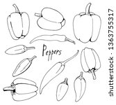 set of black and white peppers... | Shutterstock .eps vector #1363755317