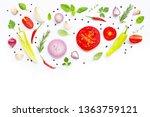various fresh vegetables and... | Shutterstock . vector #1363759121