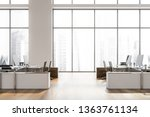 side view of open space office... | Shutterstock . vector #1363761134