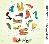 set of different shoes in... | Shutterstock .eps vector #136379381