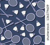 seamless pattern with badminton | Shutterstock .eps vector #136379609