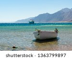 old wooden fishing boat in the... | Shutterstock . vector #1363799897