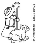 a cartoon traditional shepherd... | Shutterstock .eps vector #1363810421