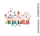 colorful piano keys with music... | Shutterstock .eps vector #1363815551
