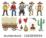 cowboys set. western retro... | Shutterstock .eps vector #1363830044