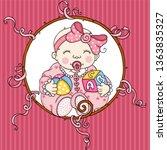 cute baby girl background   Shutterstock .eps vector #1363835327