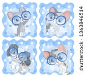 Stock vector kittens kitten cats cat puppy dog pets circle glasses blue background cartoon children 1363846514