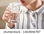 woman drinking water  closeup | Shutterstock . vector #1363846787