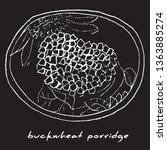 tomorrow buckwheat porridge on... | Shutterstock .eps vector #1363885274
