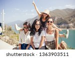 group of happy female student... | Shutterstock . vector #1363903511