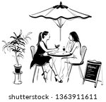 vector sketch of two girls in a ...   Shutterstock .eps vector #1363911611