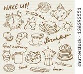 morning breakfast doodle vector ...   Shutterstock .eps vector #136392551