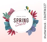 spring sale background with... | Shutterstock .eps vector #1363936127