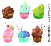 colorful cupcakes set. bakery... | Shutterstock .eps vector #1363941077