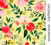 watercolor floral pattern ... | Shutterstock . vector #1363942361