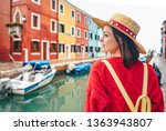 beautiful girl in a straw hat... | Shutterstock . vector #1363943807
