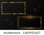 golden frame with lights... | Shutterstock .eps vector #1363951637