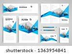 geometric abstract set flyer... | Shutterstock .eps vector #1363954841