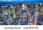 beautiful new york city skyline ... | Shutterstock . vector #136395701
