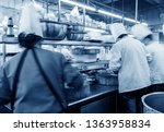 crowded kitchen  a narrow aisle ...   Shutterstock . vector #1363958834