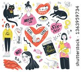 girls and cats collection.... | Shutterstock .eps vector #1363959734