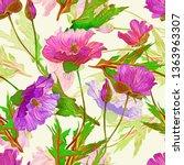 poppies flowers seamless... | Shutterstock . vector #1363963307
