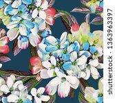 spring flowers seamless pattern.... | Shutterstock . vector #1363963397