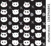 seamless pattern funny white... | Shutterstock .eps vector #1363966841