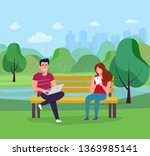 young smiling woman and man... | Shutterstock .eps vector #1363985141