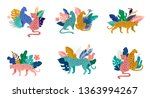 tropical exotic animals and... | Shutterstock .eps vector #1363994267