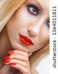 beautiful blonde woman face... | Shutterstock . vector #1364011811