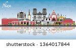 nice france city skyline with... | Shutterstock .eps vector #1364017844