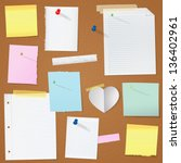 paper notes on cork board... | Shutterstock .eps vector #136402961