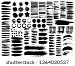 set of brush strokes  black ink ... | Shutterstock .eps vector #1364030537