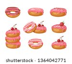 set of vector sweet pink glazed ... | Shutterstock .eps vector #1364042771