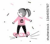 cute little girl in pink hoodie ... | Shutterstock .eps vector #1364050787