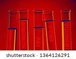 test tubes over blue background | Shutterstock . vector #1364126291