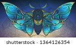 abstract mystical moth in... | Shutterstock .eps vector #1364126354