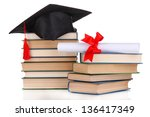 grad hat with diploma and books ...   Shutterstock . vector #136417349