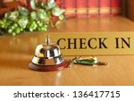 vintage old hotel bell on the... | Shutterstock . vector #136417715