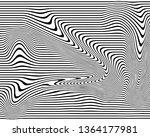 warped black lines.zebra lines... | Shutterstock . vector #1364177981