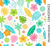 colorful tropical summer... | Shutterstock .eps vector #1364203421