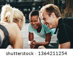 diverse group of smiling... | Shutterstock . vector #1364211254