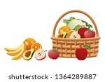 wicker basket with fruit and... | Shutterstock .eps vector #1364289887