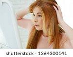 woman hair problems  | Shutterstock . vector #1364300141