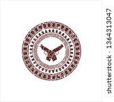 red crossed pistols icon inside ... | Shutterstock .eps vector #1364313047