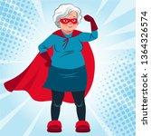 grandma in superhero costume... | Shutterstock .eps vector #1364326574
