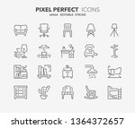 thin line icons set of... | Shutterstock .eps vector #1364372657
