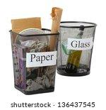assorted trash in bucket... | Shutterstock . vector #136437545